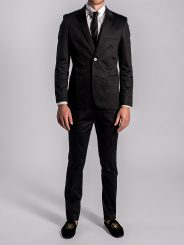 Stretch Cotton Suit in Diamond Black