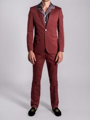 Stretch Cotton Suit in Rustic Red