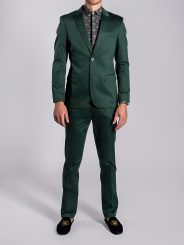 Stretch Cotton Suit in Emerald