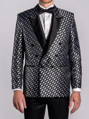 Metallic Silver Jacquard Blazer