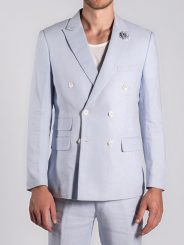 Double Breasted Linen Blazer in Ciel