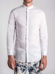Floral Jacquard Grandad Collar Shirt