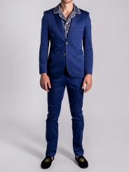 Stretch Cotton Suit in Sapphire