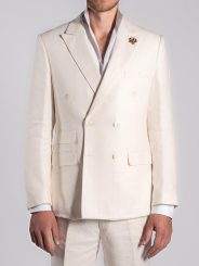Double Breasted Linen Blazer in Ivory