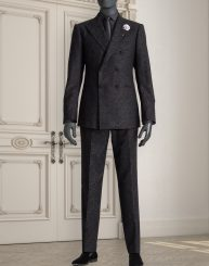Double Breasted Paisley Jacquard Wool Suit
