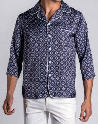3/4 Sleeve Majolica Print Revere Collar Shirt