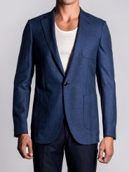 MONACO BLUE HERRINGBONE UNLINED BLAZER