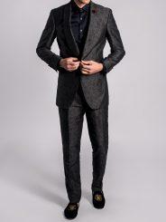 Linen Blend Shawl Lapel Jacquard Suit