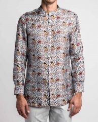Birds of Paradise Printed Silk Twill Grandad Collar Shirt
