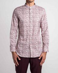 Vines & Branches Printed Cotton Grandad Collar Shirt