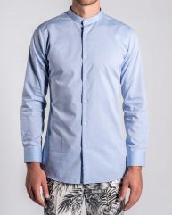 Floral Jacquard Grandad Collar Shirt in Powder Blue