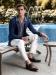 DEBONEIRE Floral Jacquard Trousers in Blanc de Blanc