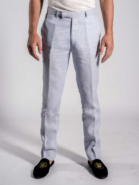 Linen Trousers in Ciel