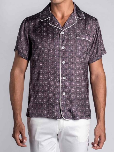 Short Sleeve Majolica Print Revere Collar Shirt
