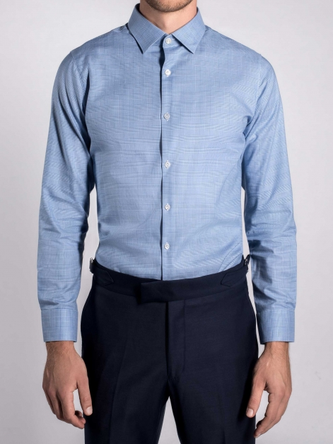 Prince of Wales Check Shirt in Royal Blue