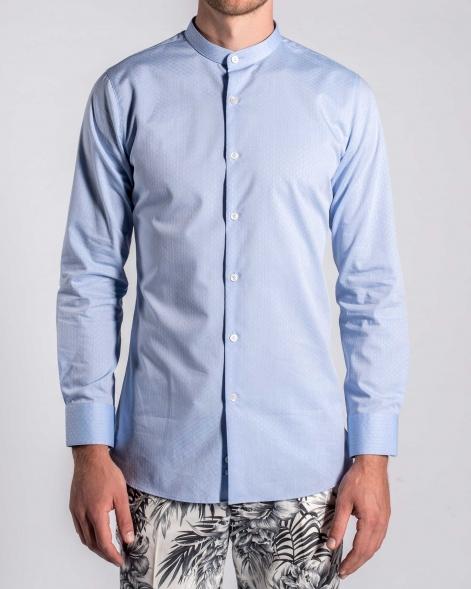 Floral Jacquard Grandad Collar Shirt in Powder Blue