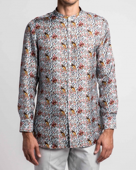 Birds of Paradise Printed Silk Twill Grandad Collar Shirt